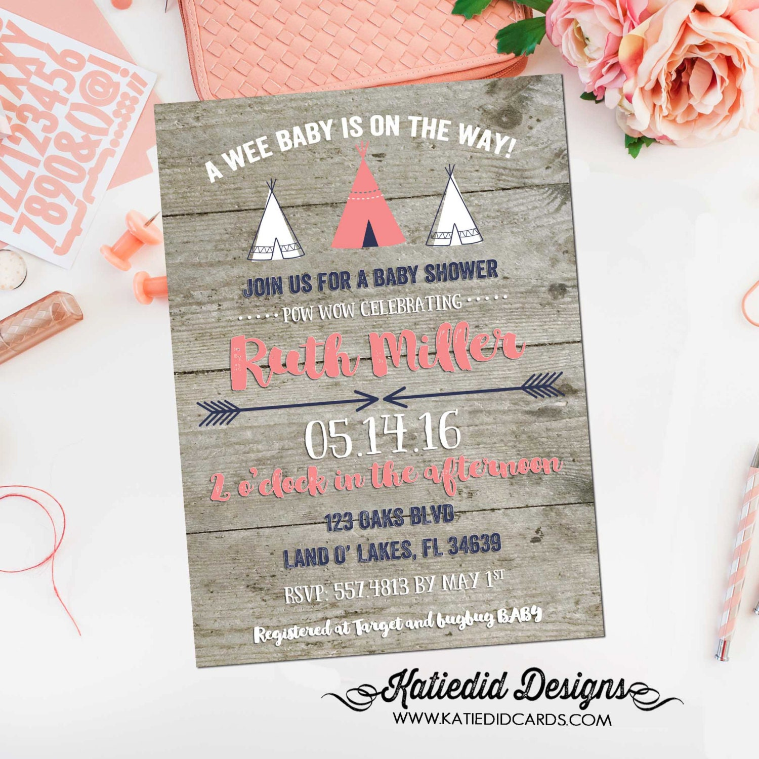Rustic Baby Girl Shower Invitation Boho Tribal Teepee Coral Navy Wood Diaper Wipe Brunch 1453 Katiedid Design