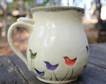 Walking Bird Pottery Mug MADE PER ORDER