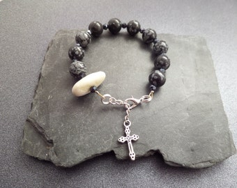 Black and Grey Rosary Bracelet with Scottish Iona Marble, Beach Pebble, Healing Stone, Protection Jewelry, Catholic Chaplet