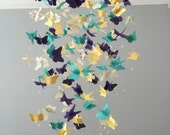 Butterfly Chandelier  Mobile, in purple/ Yellows/green  mostly solid butterflies girl room mobile,nursery mobile,baby girl mobile,baby crib