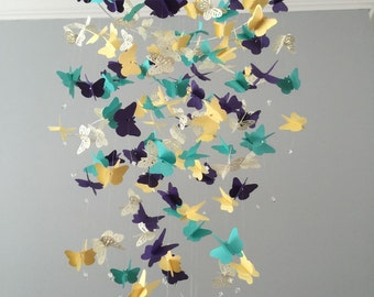 Butterfly Chandelier  Mobile, in purple/ Yellows/green  mostly solid butterflies girl room mobile,nursery mobile,baby girl mobile,baby