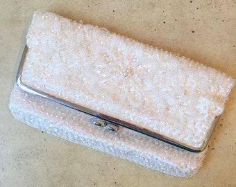 Vintage Beaded White Clutch