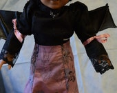 Doll clothes Halloween bats black pink hat with bow bat wings black Victorian blouse lace black   RESERVED FOR EMOONEY4