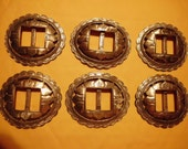 Vintage  Brighton  Silver Sunflower Conchos   Lot of 6    Slotted for Belts   Upcycle