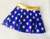 Girls Skirt Wonder Woman costume royal blue and white stars 6 9 12 18 24 months 2T 3T 4T 5T 5 6 7 8 9 10 11 12 Gold Baby Toddler Kids waist