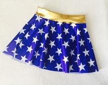 Girls Skirt Blue and White Stars Wonder Woman costume skirt 6 9 12 18 24 months 2T 3T 4T 5T 5 6 7 8 9 10 11 12 Gold Baby Toddler Kids waist