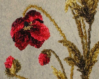 Antique Victorian Silk Chenille Embroidered Poppies on Wool Felt Mantel Cover With Tassel Trim - Great For One of a Kind Pillows or Mantel