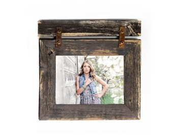 8x10 Barnwood Picture Frame with Rustic Hardware and Barnwood Header -Rustic Picture Frame-Reclaimed-Landscape or Portrait-Collage Frame