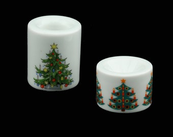 1970's MIB Funny-Leuchter Small Candle Holders with Christmas Tree Decor.. German folk art.. made in Germany..