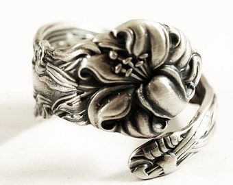 Petite Stargazer Lily Ring, Sterling Silver Spoon Ring, Tiger Lily, Frontenac Victorian, Floral Ring, Gift For Her, Custom Ring, Small Size