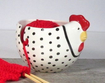 Hen yarn bowl knitting bowl Knitter gift Ready to ship