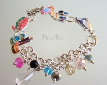 Hair Stylist Hairdresser Bracelet, Hairdresser Jewelry, Beautician's jewelry, Hair Salon Themes charms, Cosmetologist's bracelet.