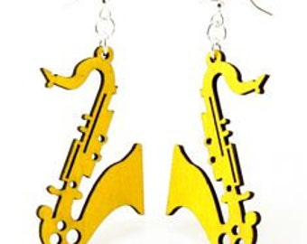 Saxophones for Ears - Laser Cut Wood Earrings
