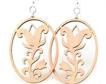 Flower Oval - Wood Earrings