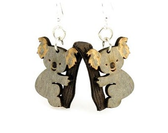 Koala Bears - Small Cute light wieght laser cut wood earrings