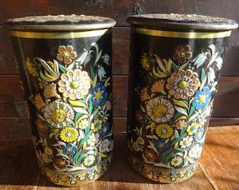 Vintage Dutch Large Coffret Hollandais Storage Tins 3D Flower Decoration circa 1950-60's / English Shop