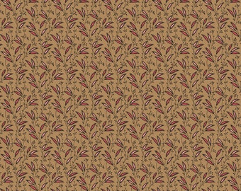 Dargate Vines Tan with Brown Vines and Pink Leaves by Margo Krager for Andover Fabrics