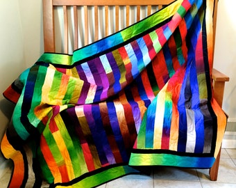 Modern Bright Quilted Lap Throw , Cottage Chic Ombre Fabrics , Rainbow Colors , Handmade Quilt For Sale - Fiber Art Wall Decor, Dorm Quilt