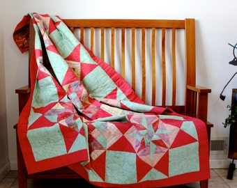 Patchwork Quilted Throw  Pink and Green Picnic Blanket   Quilted Reversible  Bed Topper  Dorm Quilt. Handmade Fiber Art. Quilts for Sale