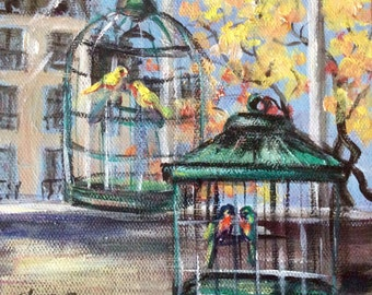 """Two Birdcages Painting City Window Painting Original Art 6 x 6"""""""