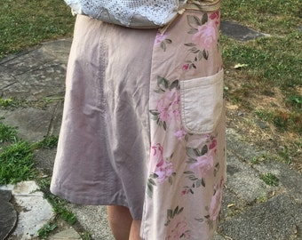 Floral Pink and Khaki Skirt from Recycled Pants, Ladies Size 8-12, Drawstring Waist, OOAK