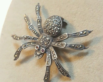 Vintage Sterling Silver Marcasite Spider Pin Brooch, Sweater accessory, shawl pin, Bent Spoon Jewelry