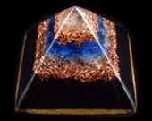 Orgonite Pyramid with Large Tibetan Double Terminated Crystal, Phenacite, Blue Apatite, Rose Quartz, Fluorite, Selenite ... and much more