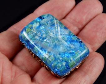 Amazonite Moldavite Pocket Orgonite Orgone Generator.. Tibetan Crystals, Phenacite, Petalite, Tourmaline, Elite Shungite, Gold Powder (h17)
