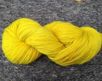 SUPER-SIZED SKEIN! Hand Dyed Pure Alpaca Yarn Worsted Weight 480 yards Sunflower Power