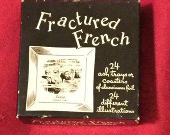 Vintage Box of Fractured French Ash Trays or Coasters, Silver Foil Trays by Fred Pearson and Richard Taylor