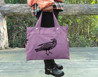Screen print purple canvas tote bag travel bagmessenger bag / laptop bag / brief case / diaper bag / shoudler bag