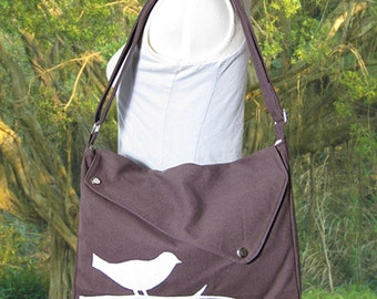 Brown cotton canvas bird messenger / shoulder bag / messenger bag / diaper bag / cross body bag