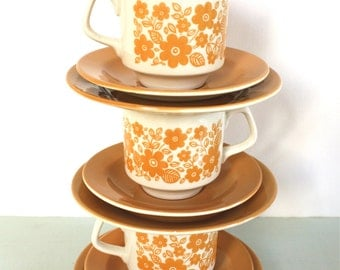 CLOSING DOWN SALE - 50% Off Trio of Teasets in Mustard Yellow Floral Pattern by Tams of England