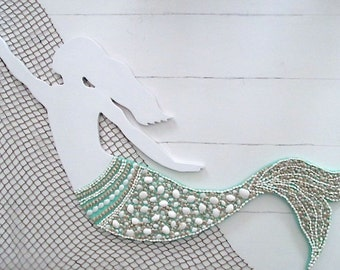 Large Wood/Shell Mermaid, Turquoise/White, Nautical Wall Decor