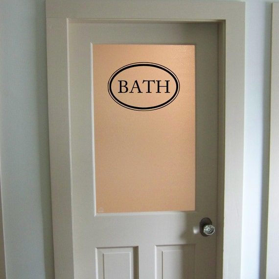 Bathroom Door Stickers : Bath vinyl decal bathroom door glass