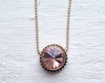 Round Rhinestone Necklace, Pink Rhinestone Necklace, Pink Rhinestone, Raised Rhinestone setting, Jewelry, J Crew Necklace, Necklace