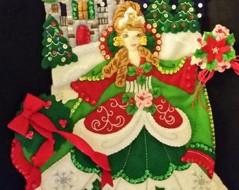 """Finished Felt Christmas Stocking """"Princess"""" 18 inch"""