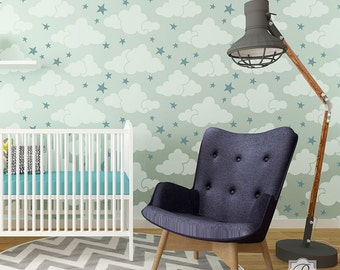 Head In The Clouds Wall Stencil Allover Pattern for Wall Decor DIY Wallpaper Look