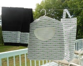 RESERVED for Christy - Kiss Me I'm Irish Set - Clothes Pin Bag and 2 Tea Towels and Plastic Bag Holder - Ready to Ship