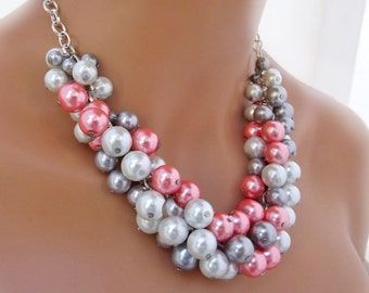 Chunky Pearl Statement Necklace, Big Large Beads, Pink, Silver and White, Bridal Pearl Bridesmaids Jewelry