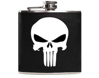 Punisher Flask, Black Leather, Ghost Skull, Personalized Wedding Groomsmen Custom Mens 6oz Hip Flask