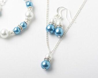 Bridesmaid jewelry set, Ocean blue  earrings and necklace set, Ocean blue wedding jewelry, bridesmaid gift, jewelry set, Malibu blue jewelry