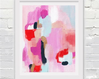 Abstract Art Print in Peach, Pink, and  Orange