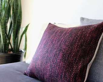 Mid century modern pillow: Italian wool in boucle weave, black with pink flecks, decorative pillow cover