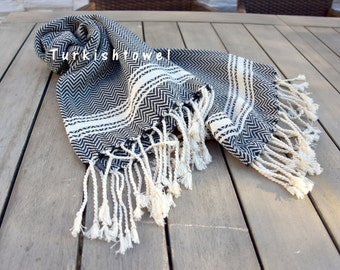 Turkishtowel-Soft-Hand woven,warp&weft cotton Hand,Tea,DishTowel-Herrigbone pattern,Natural Cream stripes on Black