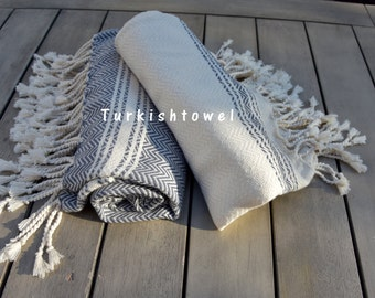 Turkishtowel-Soft-Set of 2-Hand woven,warp&weft cotton Hand,Tea,DishTowel-Herrigbone pattern,Grey and Natural Cream
