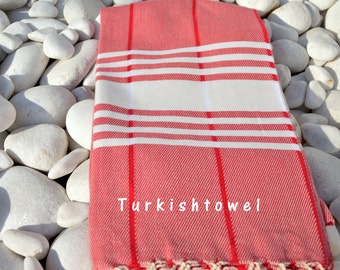 Turkishtowel-Soft-Hand woven,warp&weft cotton Bath,Beach Towel-Point twill pattern,Natural cream stripes on red