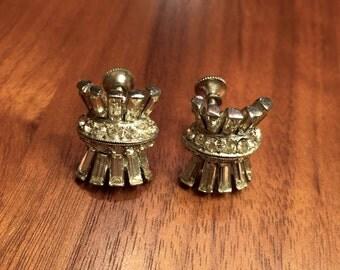 Art Deco Haystack Crystal Screwback Bridal Earrings