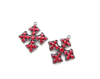 2 Red Rhinestone Pendants / Gunmetal