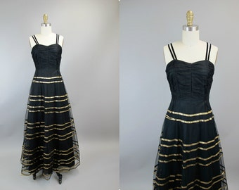 1930s Black and Gold Stripe Evening Gown
